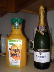 Orange juice and champagne